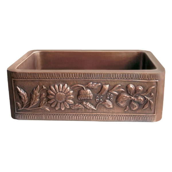Copper Farmhouse Sink Sunflower Front Apron
