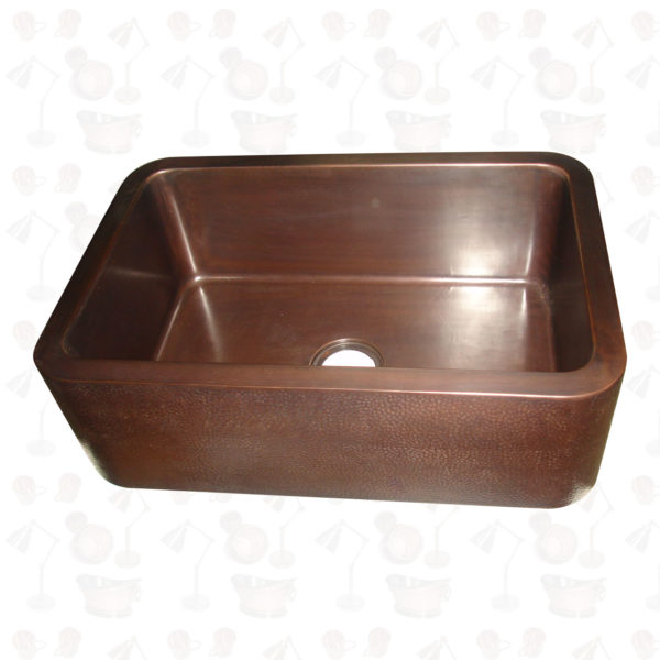 Hammered Front Apron Copper Farmhouse Sink