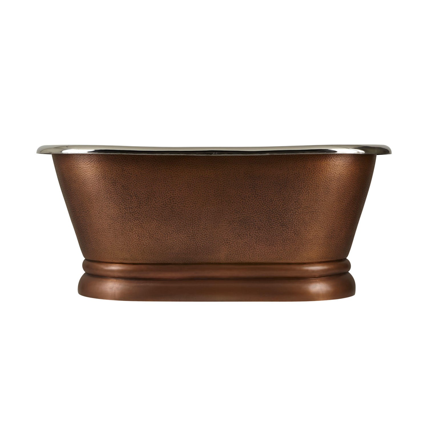 Copper Pedestal Tub Nickel Interiors - Coppersmith Creations