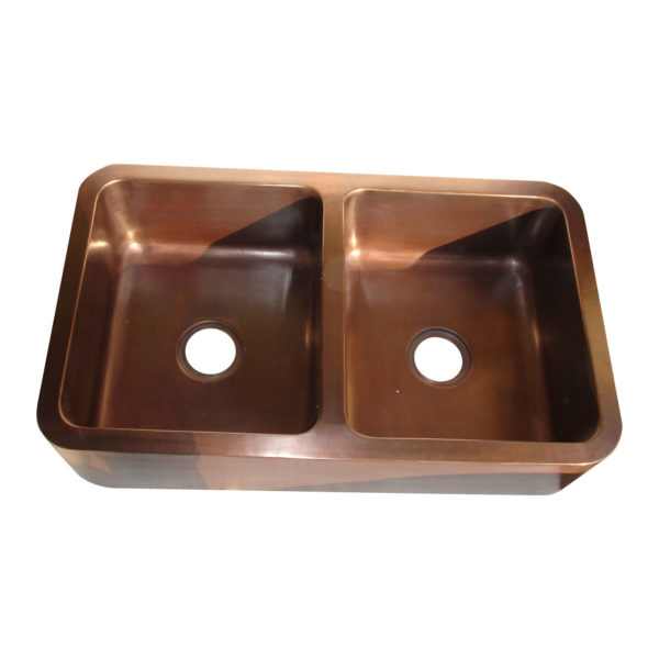 Rectangular Double Bowl Copper Kitchen Sink - Coppersmith Creations - Coppersmith Creations