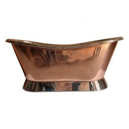 Slanting Base Copper Bathtub Nickel Inside & on Base