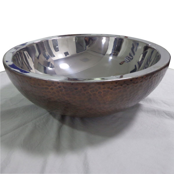 Copper Sink Hammered Copper Outside Nickel Inside - Coppersmith Creations