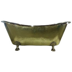 Clawfoot Brass Bathtub Hammered Exterior Size: 72″ x 32″ x 29″