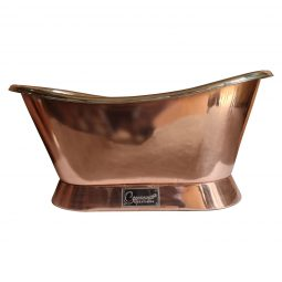 Slanting Base Copper Bathtub Nickel Interior Copper Exterior