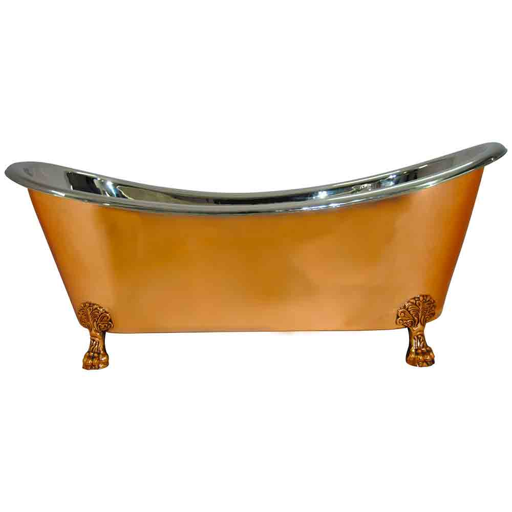 Copper Clawfoot Bathtub Nickel Inside - Coppersmith Creations