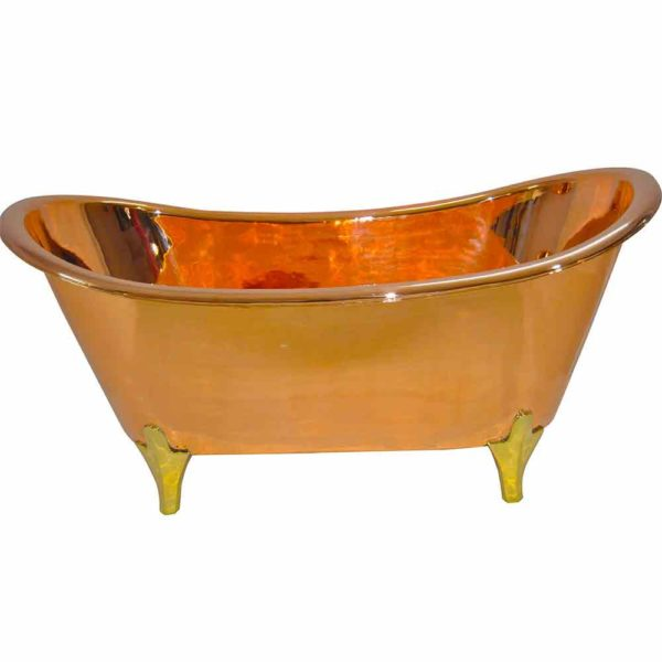 Copper Bathtub Full Copper Finish & Brass Legs - Coppersmith Creations
