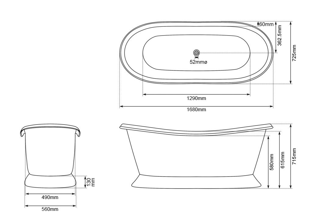 Slanting Base Copper Bathtub Copper Inside & on Base Black Outside