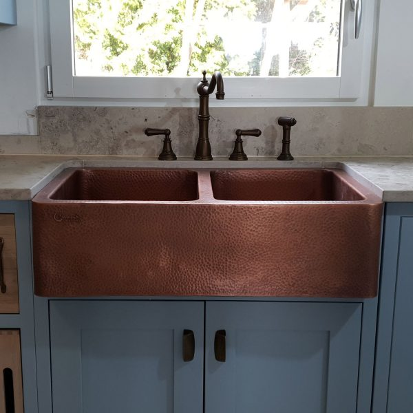 Double Bowl Copper Kitchen Sink Front A Hammered Antique Finish