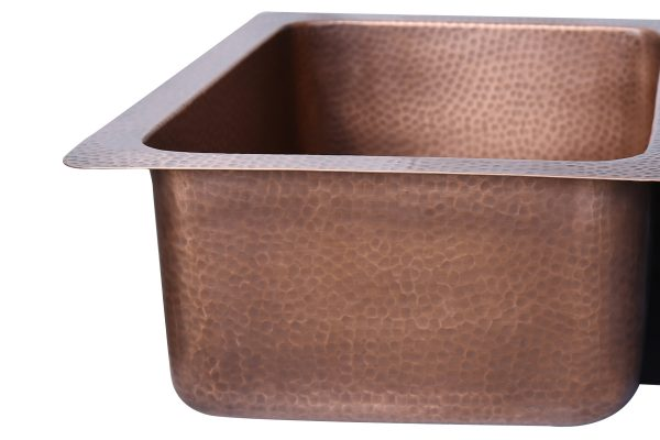 Double Bowl Vine Design Front Apron Copper Kitchen Sink