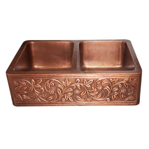 Copper Farmhouse Sink Double Bowl Embossed Front Apron