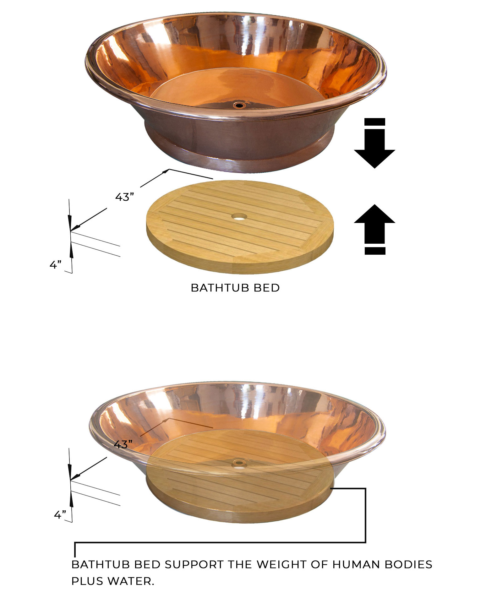 Round Copper Bathtub Bed