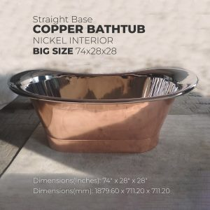 Straight Base Copper Bathtub Nickel Inside Big Size