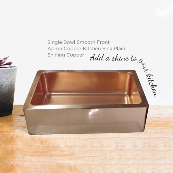 Single Bowl Copper Farmhouse Sink Smooth