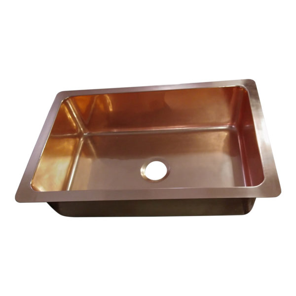 Single Bowl Copper Kitchen Sink Front Apron Smooth
