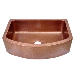 D-Shape Copper Kitchen Sink Single Bowl Front Apron