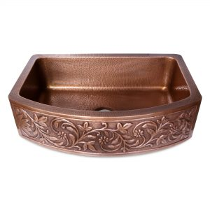 D Shape Vine Design Front Apron Copper Kitchen Sink