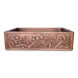 Single Bowl Flower Front Apron Copper Kitchen Sink