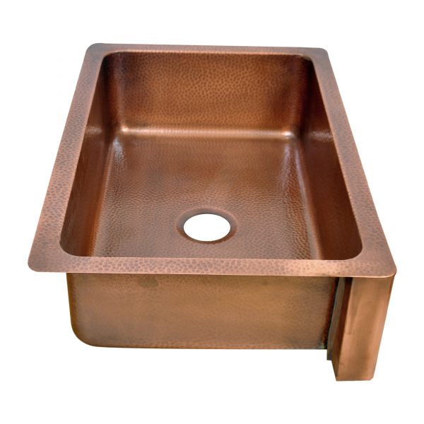 Single Bowl Maple Leaf Front Apron Copper Kitchen Sink