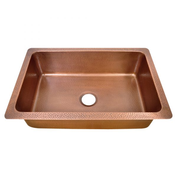 Single Bowl Three Flowers and Petals front Apron Copper Kitchen Sink