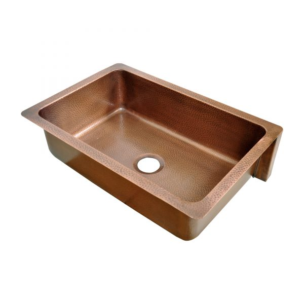 Single Bowl Two Squares in one Square Pattern front apron Copper Kitchen Sink