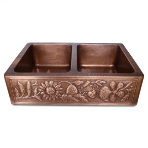 Double Bowl Sunflower Design Front Apron Copper Kitchen Sink