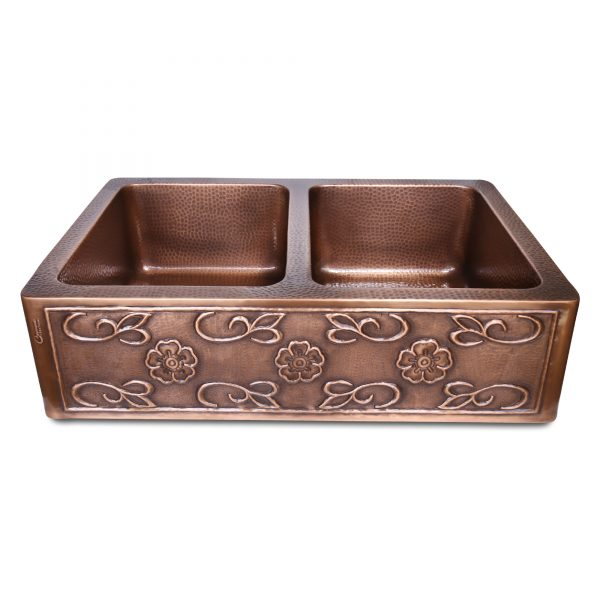 Double Bowl Three Flowers and Petals front Apron Copper Kitchen Sink