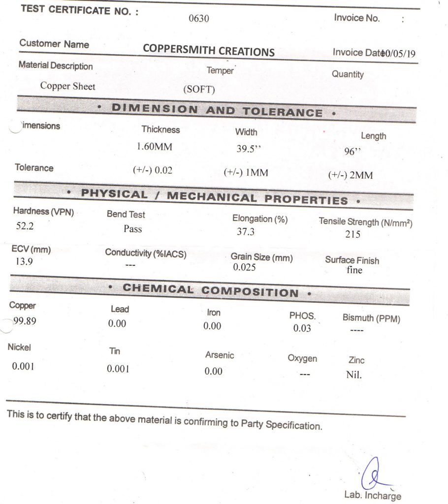 Lab test certificate of copper sheet used by Coppersmith Creations