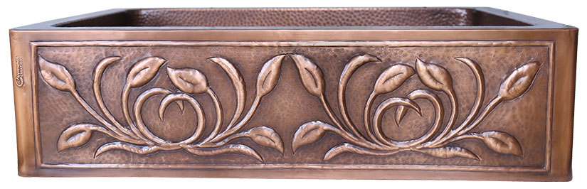 Single Bowl Petal Front Apron Copper Kitchen Sink 2020 Designs