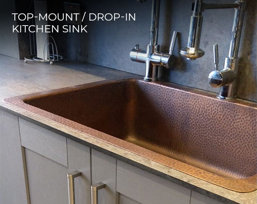 top-mount / drop in copper kitchen sink from Coppersmith Creations