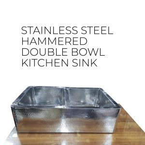 Double Bowl Stainless Steel Kitchen Sink Hammered Front Apron