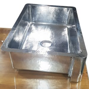 Single Bowl Stainless Steel Kitchen Sink Hammered Front Apron