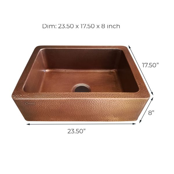Copper Sink Hammered Front Apron 23.50 x 17.50 x 8 inch