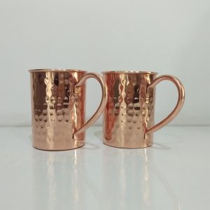 Cylindrical Copper Mugs Hammered