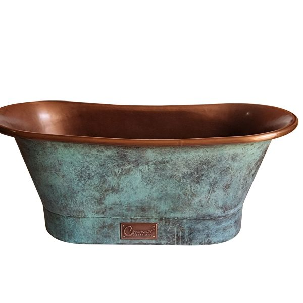 Straight Base Copper Bathtub Copper Interior & Blue Green Patina Exterior Finish