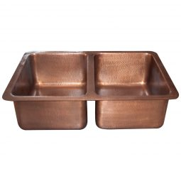 Double Bowl Single Wall Copper Kitchen Sink