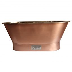 Straight Base Copper Bathtub Brushed Copper Exterior & Polished Nickel Interior