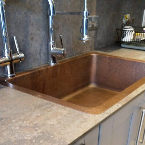 Single Bowl Single Wall Copper Kitchen Sink Hammered Antique (without Front Apron)
